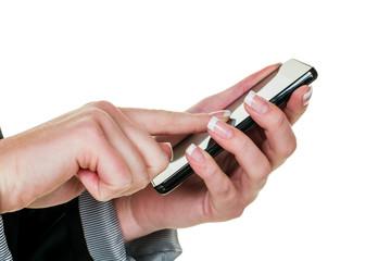 Auf Mobil Telefon wird SMS geschrieben