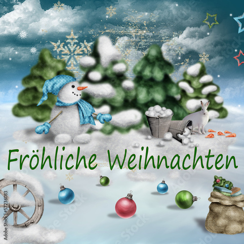 fröhlicher weihnachtsgruß, illustration