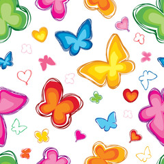 Lovely butterfly seamless pattern. Abstract white background.