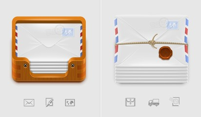 vector mailbox and envelops icons xxl