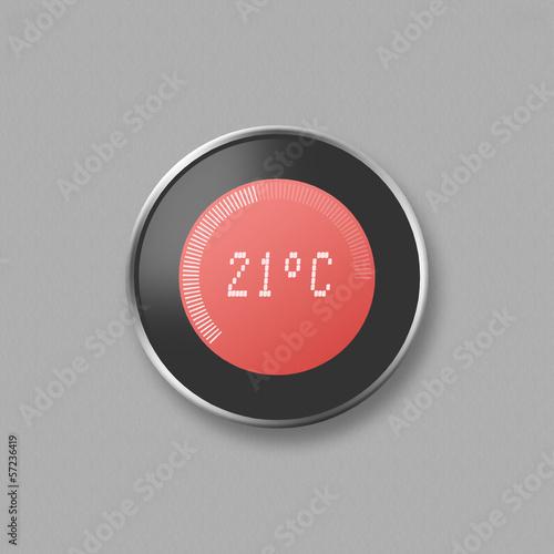 Leinwandbild Motiv Hand adjusting thermostat