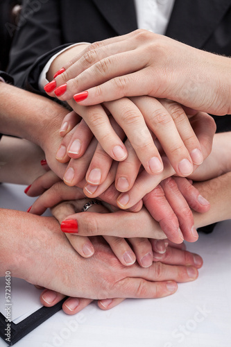 Employees hands - team