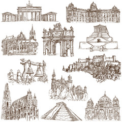 Famous places and architecture around the World - white set 4