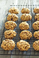 Pumpkin oat cookies on a cooling rack