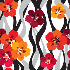 red flowers. flower seamless background. floral texture