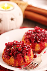 Lingonberry upside down muffins for christmas