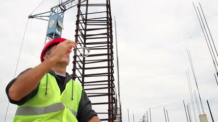 Construction Worker on a Short Break.