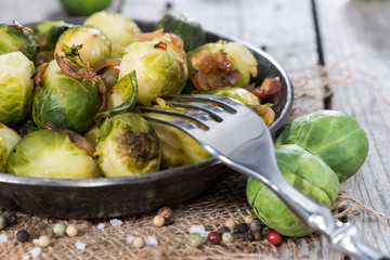 Fried Brussel Sprouts with Ham