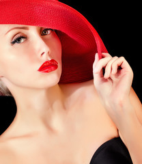 stylish woman in red hat