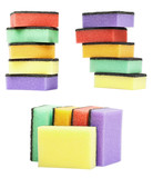 set colorful kitchen sponges are isolated on a white