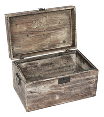 old wooden open chest is isolated on white