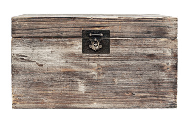 old wooden chest is isolated on white