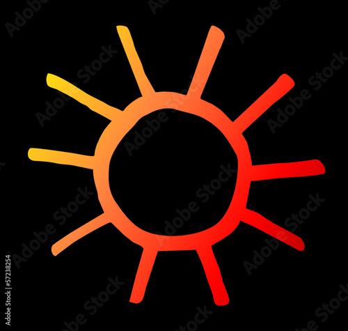 orange, gelbe Sonne auf schwarzem Hintergrund