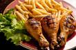cosce di pollo e patate fritte