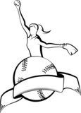Softball Pitcher with Ball & Banner