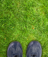 shoes on  grass.
