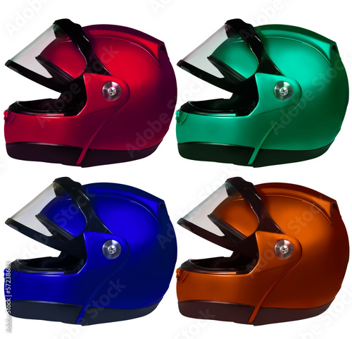 Motorcycle helmets on a white background. Collage