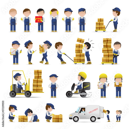 Very Detailed Drawn Transport Workers Set - Isolated