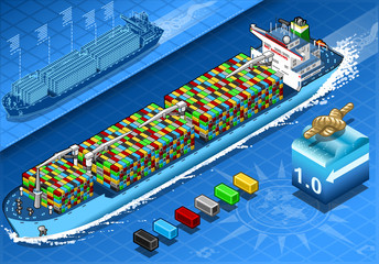 Isometric Cargo Ship with Containers in Navigation in Front View