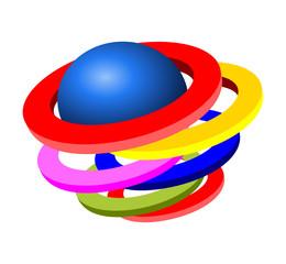 Cerchi colorati con sfera