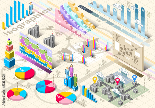 Isometric Infographic Set Elements