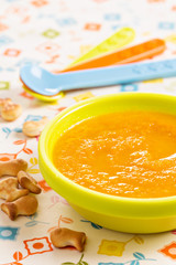 Carrot soup for children with crackers