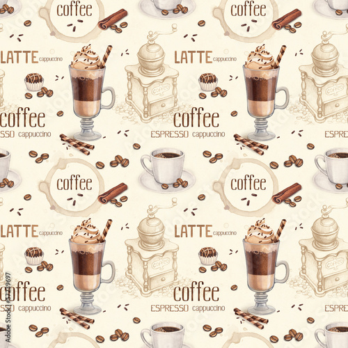 Seamless pattern with illustrations of coffee cup