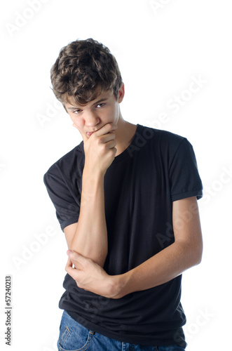Dubious thoughtful teen boy thinking