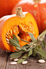 Pumpkins with sage
