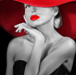 classy lady in red hat