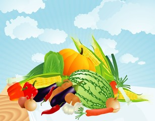Summer vegetables. Vector.