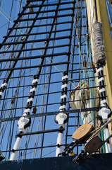 Blocks and rigging at the old sailboat, close-up