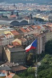 Czech flag with Prague main railway station