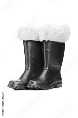Studio shot of a pair of santa boots