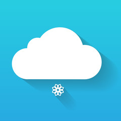 Day cloud and snow flake isolated on blue