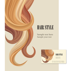 Hair style background. Hair salon design visit card and poster.
