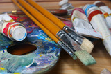 brushes, paints and pallette