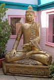 A Large Outdoors Serene Golden Buddha Figure.