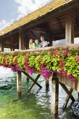 Happy family in Lucerne, Switzerland