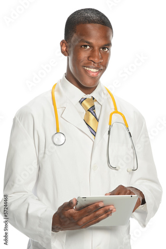 African American Doctor Using Electronic Pad