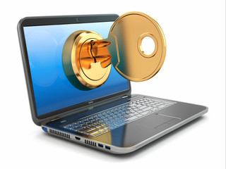 Internet security concept. Key and laptop.