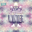 "Vintage ""Hello Winter"" Poster. Vector illustration."