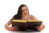 Atractive woman reading an book