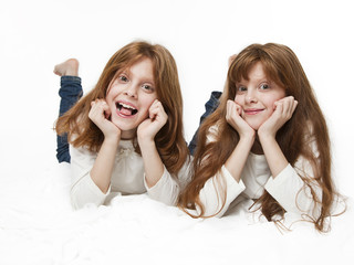 Red girl twins