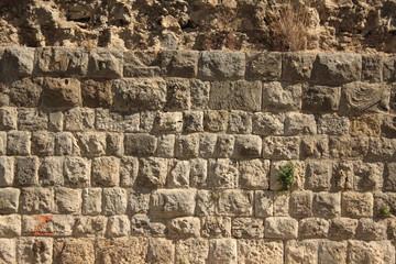 Muro di tufo come sfondo