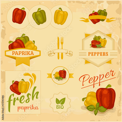 paprika, pepper, vegetables, product label packaging design