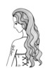 Black and white outline girl illustration