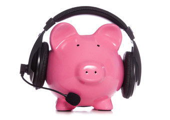 Piggy bank wearing bluetooth headset