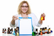 chemist woman with glassware flask clipboard isolated