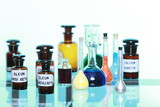 Various pharmacy medicine bottles isolated